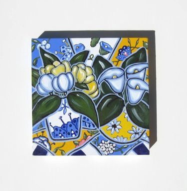 Custom Made Blue And Yellow Still Life Painting, Original Acrylic Painting On Canvas