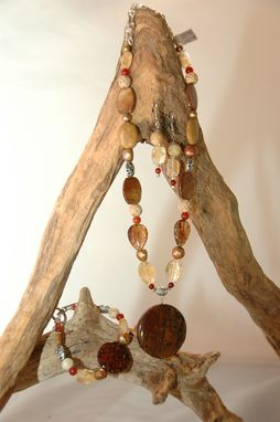 Custom Made Autumn Stone, Citrine, Shell & Jasper  Necklace With Autumn Stone Pendant, Bracelet And Earrings