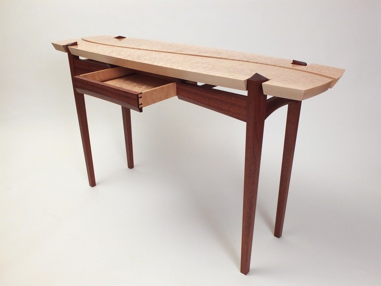 Handmade Sapele And Quilted Maple Hall Table by Dogwood Design ...