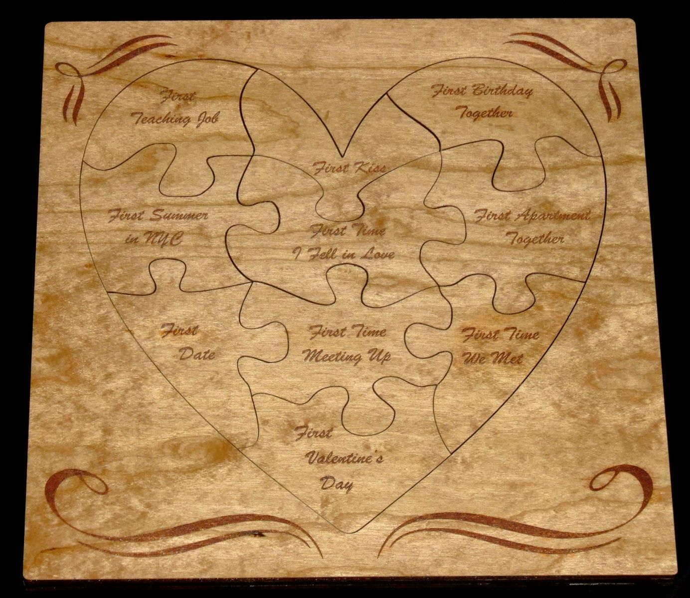 Hand Crafted Wooden Heart Puzzle And Outline By