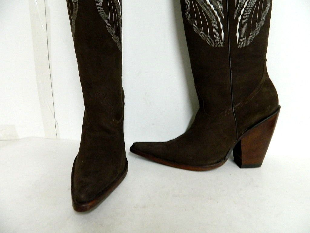 41b77459eb1 Custom Made Made To Order Nubuck Leather Cowboy Boots 22 Inch Tall ...