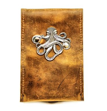 Custom Made Leather Smart Phone Case With Nautical Kraken Octopus