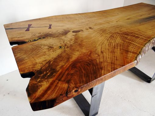 Custom Made Custom Dining Table, Live Edge, Dimensional, Solid Wood, Steel