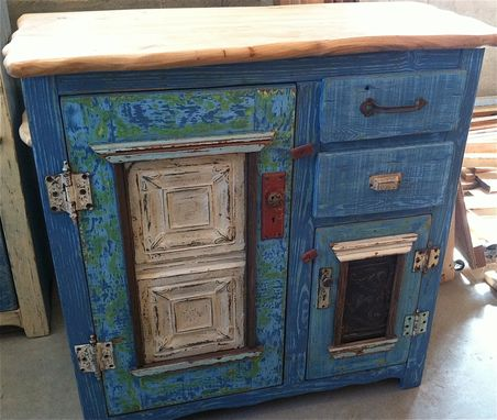 Custom Made Blue Combination Cupboard With Native Elm Top