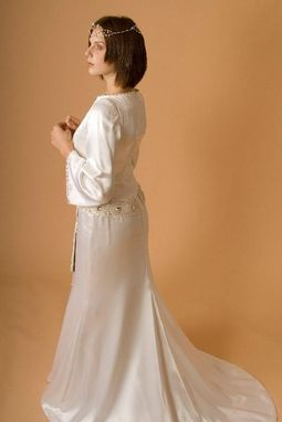 Custom Made Medieval  Inspired Silk Satin Bridal Gown With Exclusive Beaded Belt