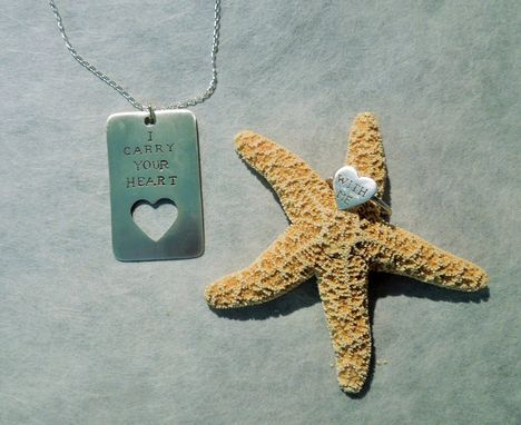 Custom Made Dog Tag Pendant With Ring And Custom Message Sterling Silver