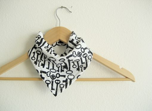 Custom Made Skeleton Key Bandana Bib For Baby, Cotton Reversible Bibdana