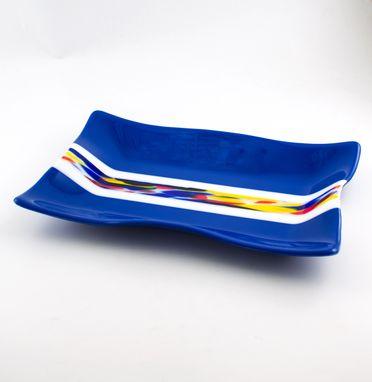 Custom Made Cobalt Blue Fused Glass Serving Tray, Rectangular Platter