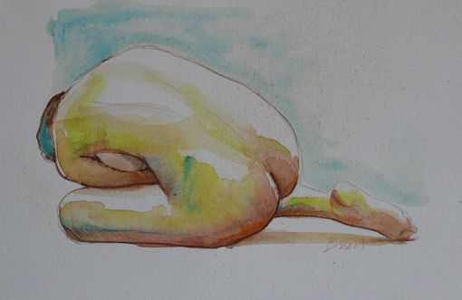 Buy a Hand Made Watercolor Nude Study, Watercolor Painting
