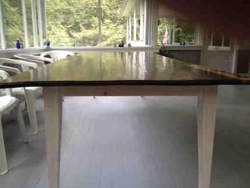 Custom Made Walnut Farm Table With Lapis And Abalone Shell Inlay