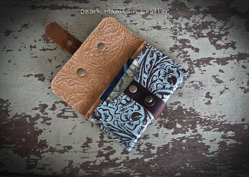 Custom Made Bison And Turquoise Leather Card Wallet For Man Or Woman