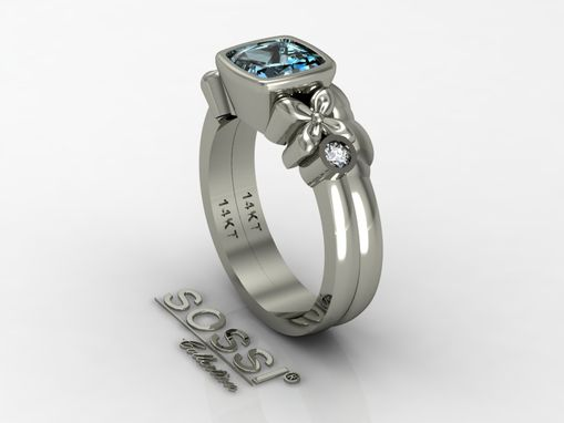 Custom Made 14 Kt White Gold Diamond And Aquamarine Engagement Ring