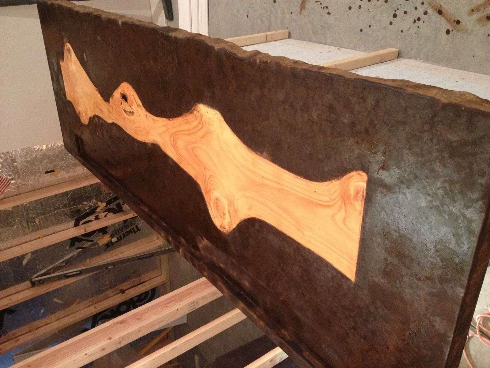 hand made 5 concrete bartop with pine cross section inlay by last