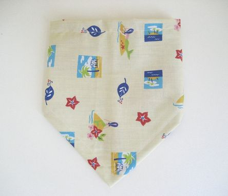 Custom Made Beach Day Bibdana, Reversible Pale Yellow Cotton Bandana Bib For Baby