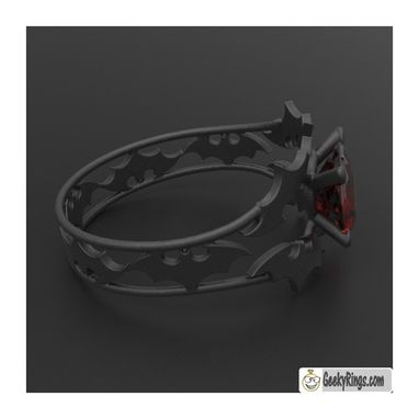 Custom Made Black Batman Engagement Ring
