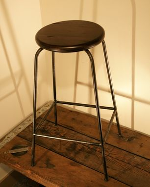 Custom Made Iron Bar Stool With Reclaimed Look Wooden Seat