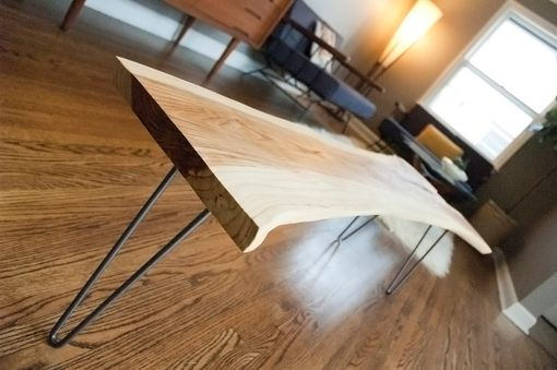 Custom Made Natural Reclaimed Live Edge Slab Coffee Table / Bench With Steel Legs