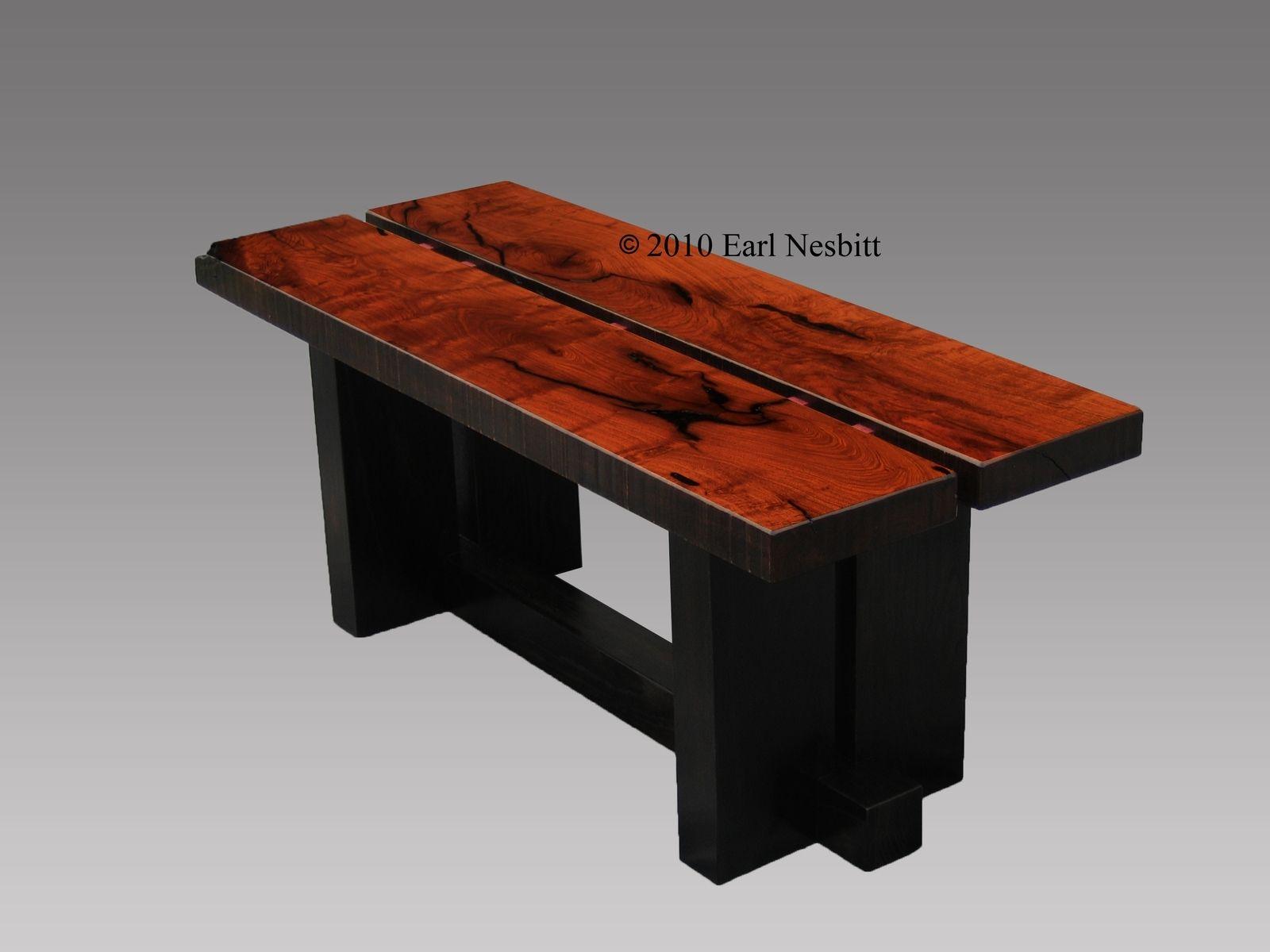 Custom Coffee Table Bench Mesquite by Earl Nesbitt Fine