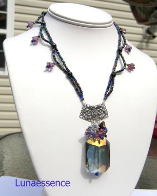 Custom Made Rainbow Crystal Floral Beaded Victorian Necklace