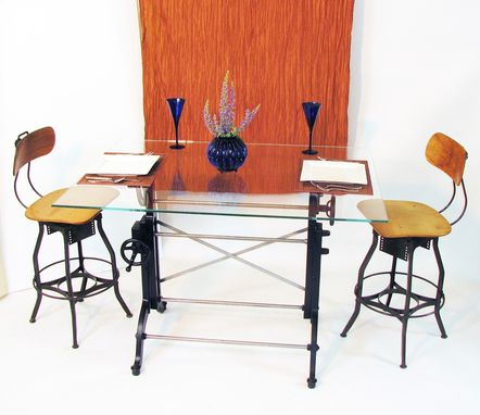 Custom Made Glass Topped Dining Or Bistro Table