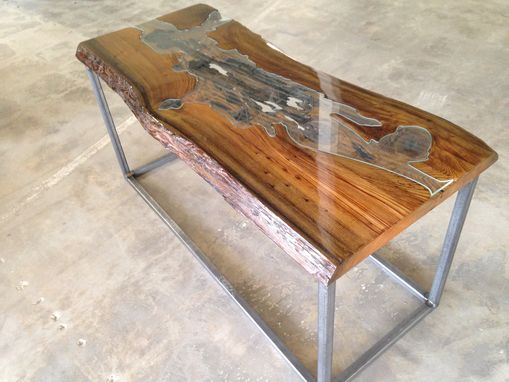 Custom Made Glass Wood Coffee Table
