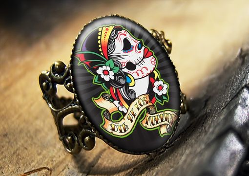 Custom Made Dia De Los Muertos Dead Skull Glass Bronze Ring 75-Bfr