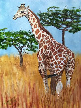 Custom Made Standing Giraffe Oil Painting