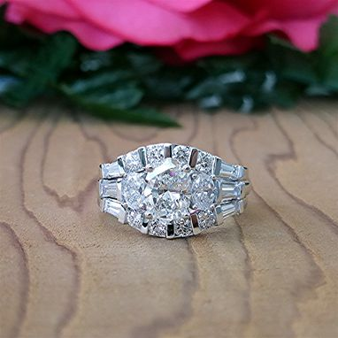 Custom Made Set Of 3.05 Carat Engagement Ring With Two Bands