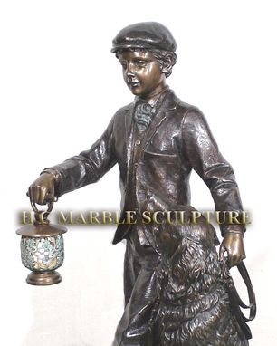 Custom Made Boy And His Dog Bronze Lantern
