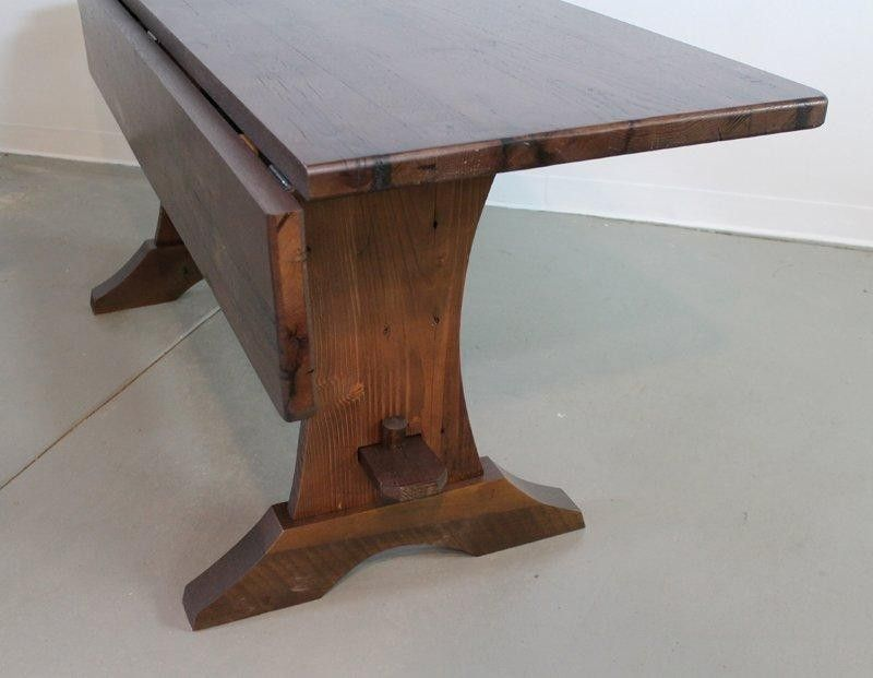 Hand Crafted Custom Drop Leaf Trestle Base Dining Room Table by ...