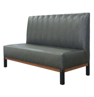 Custom Made Armless Sofa Metal And Exposed Wood Base With Carriage Bolt Accent