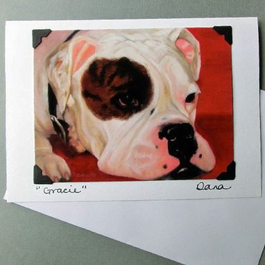 Custom Made Bulldog Card - American Bulldog - English Bulldog - Bull Dog Postcard Greeting Card