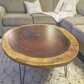 Live Edge Round Acacia Coffee Table