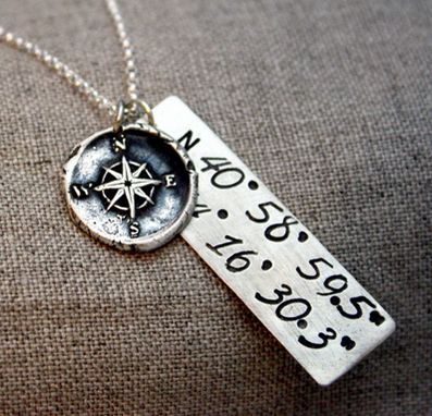 Custom Made Sterling Silver - Coordinates Necklace - $130