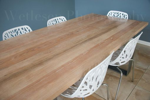 Custom Made Oak Dining Room Table With Iron Legs