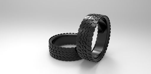 Custom Made Mens' Tire Wedding Band Black Silver Tire Ring Tread