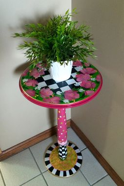 Custom Made Whimsical Painted Table // Painted Accent Table // Pedestal Table