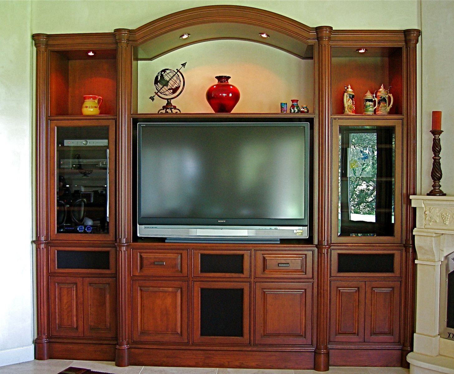 Handmade custom cherry built in media center by ps - Made com meuble tv ...