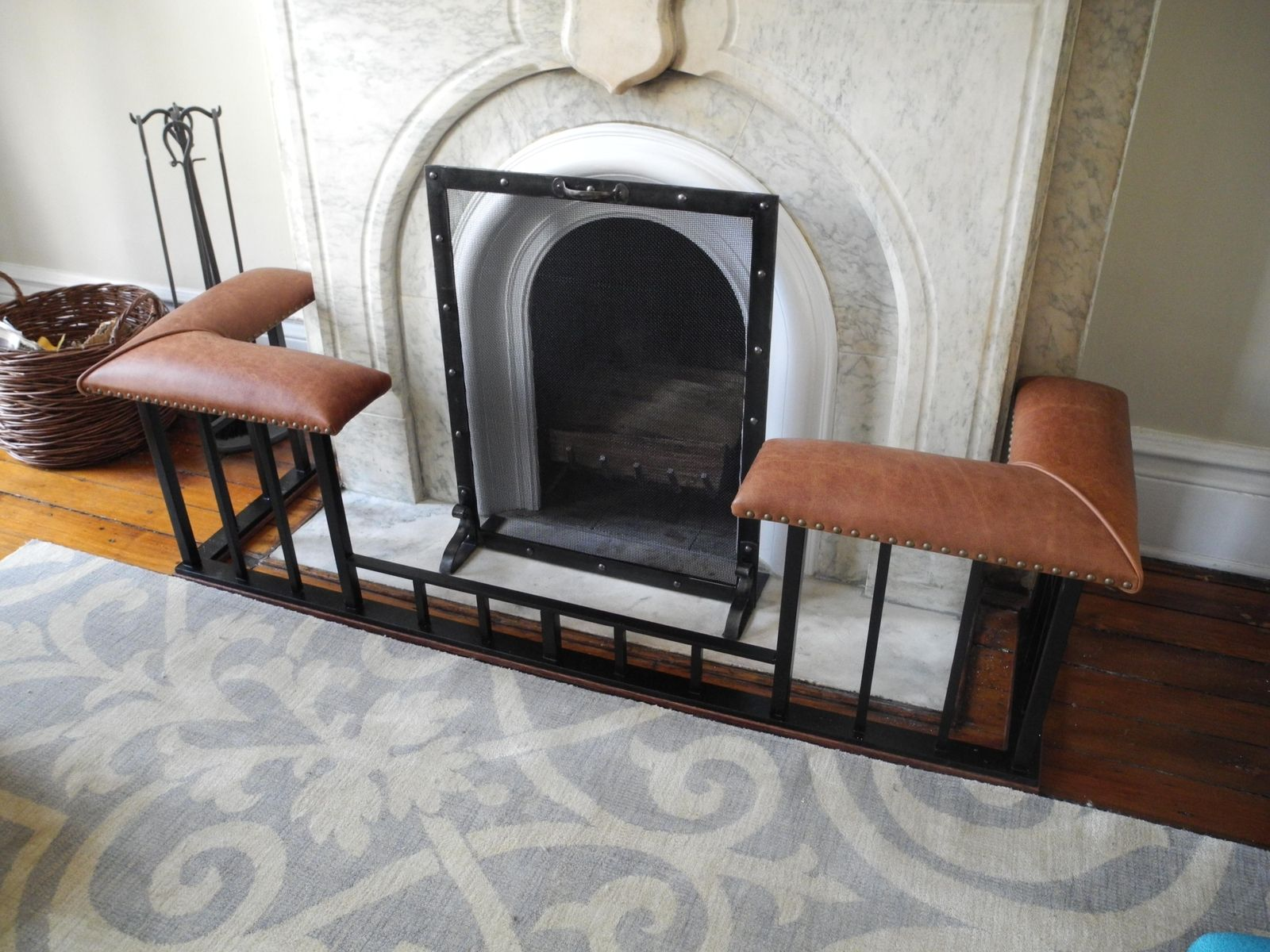 Custom fire screens (~ $250) and Old English Fireplace Benches (starting at $1