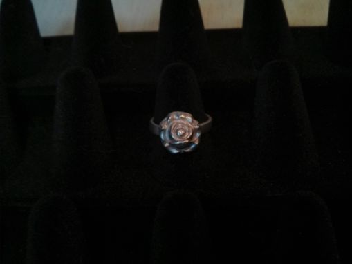 Custom Made Fine Silver Large Rose Ring