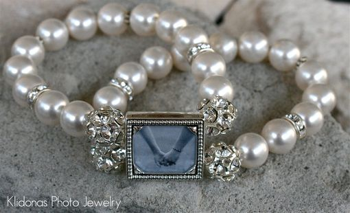 Custom Made Wedding Photo Bracelet With Swarovski White Pearls And Rhinestone Accents