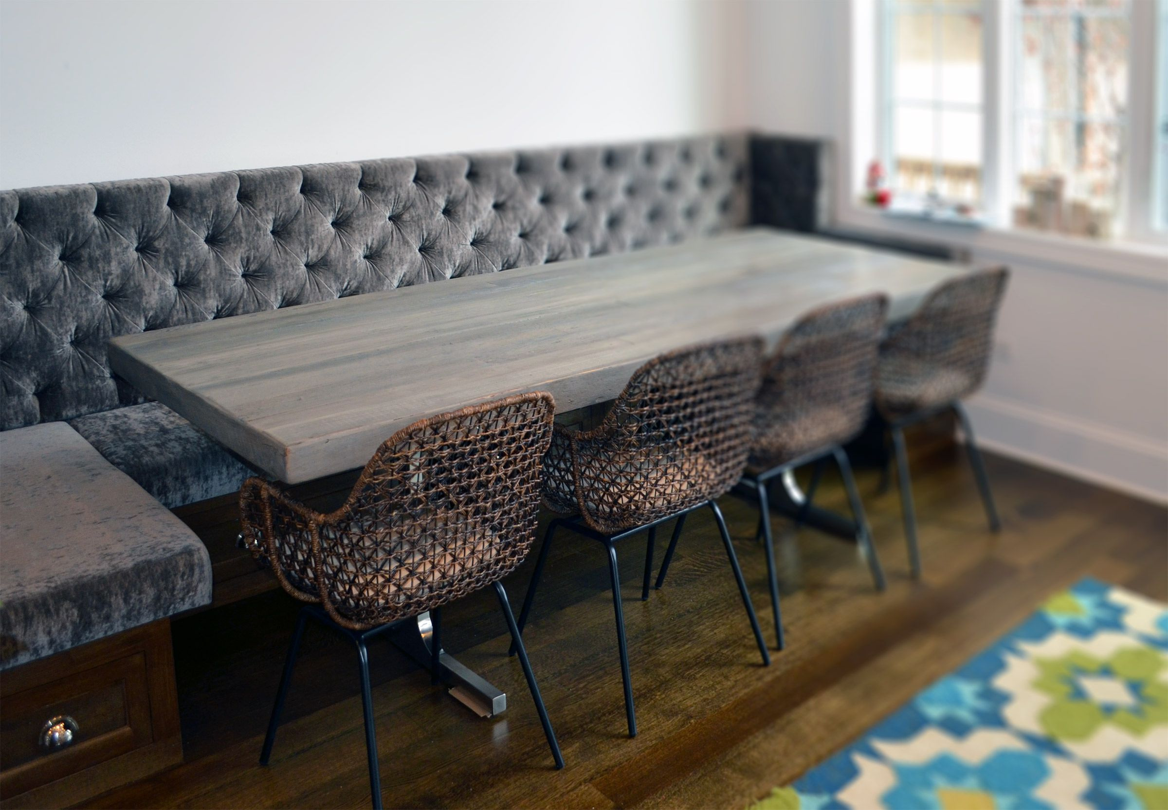 Hand Crafted Reclaimed Wood Rustic Grey Dining Table By Abodeacious