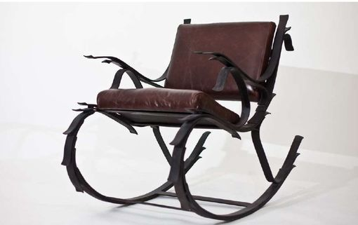 Custom Made Steel And Leather Leaf Spring Rocking Chair