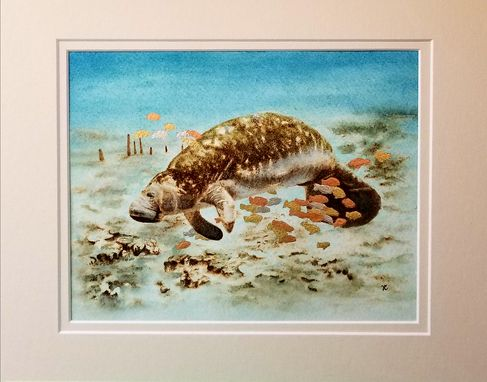 Custom Made Manatee Pyrography With Watercolors On Paper