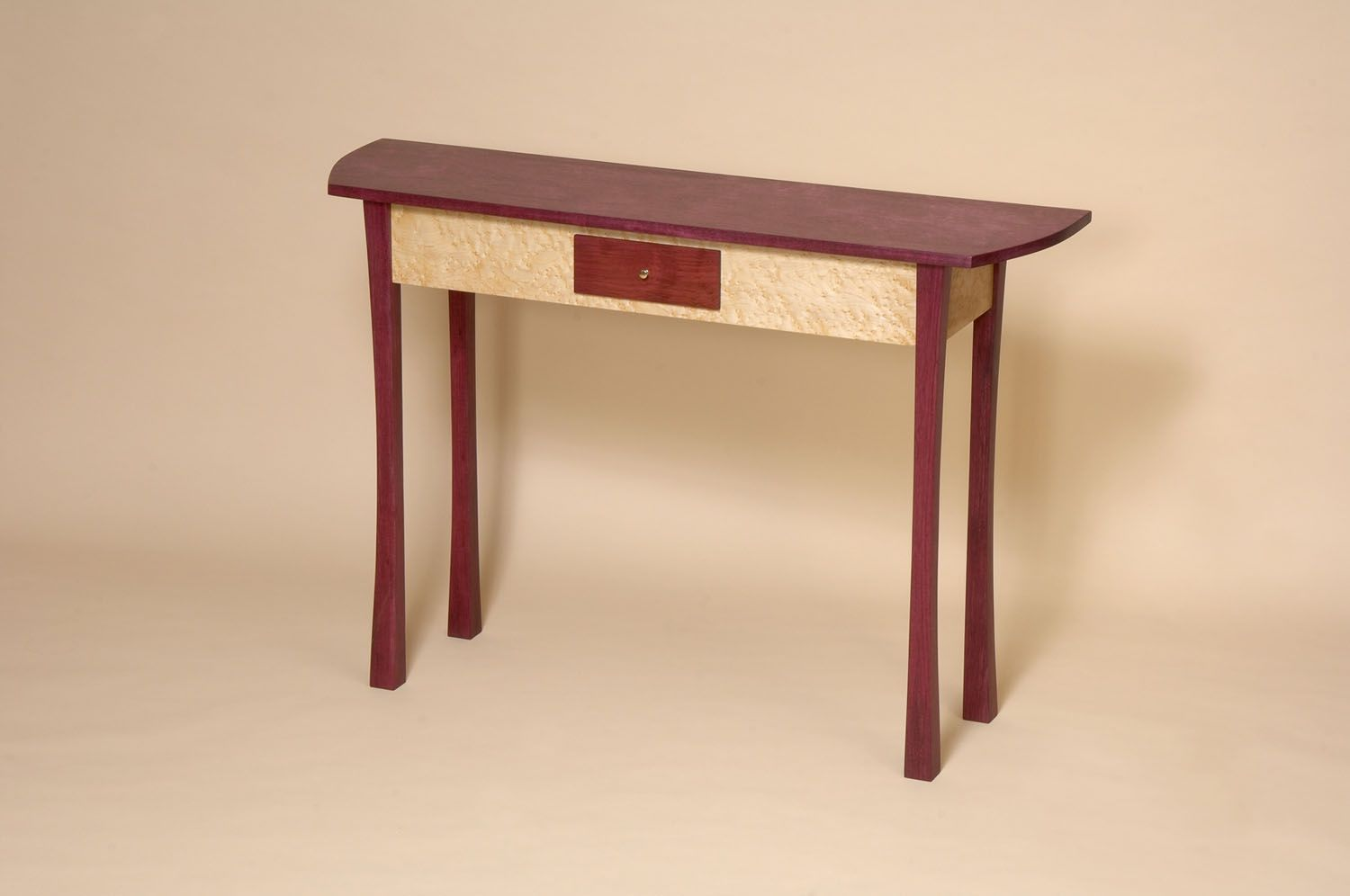 Custom sofa and console tables artisan designed and handcrafted purpleheart and birdseye maple console table geotapseo Gallery