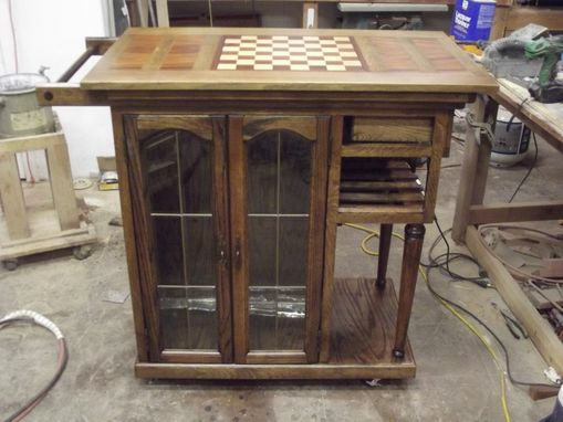 Custom Made Rolling Wooden Bar Cart