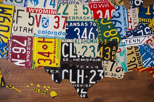 Custom Made Large License Plate Map