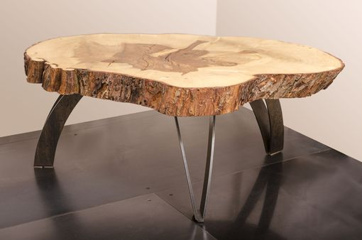 Custom Made Coffee Table | Live Edge Maple - Weathered Steel