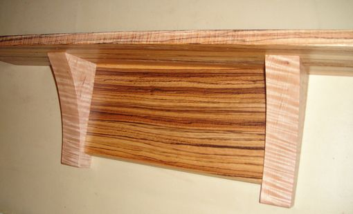 Custom Made 35 Inch Wall Shelf Made From Exotic Zebrawood And Tiger Maple