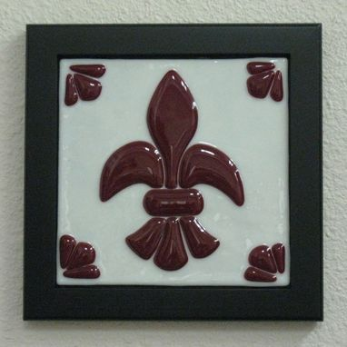 Custom Made Fleur De Lis Fused Glass Trivet